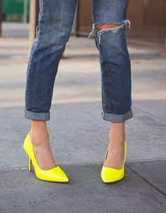 Lovisa-01 Bright yellow women's pointed toe patent pump