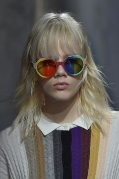 Rainbow shades with knitwear to match at @marcodevincenzo #MFW #AW15