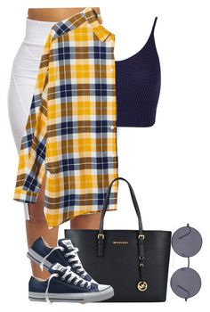 """Untitled #741"" by camgueyana ❤ liked on Polyvore featuring Miss Selfridge, Monki, MICHAEL Michael Kors, Converse and Forever 21"
