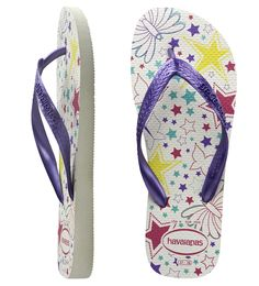 Honey White/Violet. Twinkle into Summer with crisp white Havaianas! Featuring fun bright multi coloured star and butterfly print, with bright metallic purple straps. Made from our secret Brazilian rubber formula.