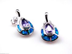 Blue Fire Opal & Purple Amethyst Pierced Earrings Stamped .925 Solid Sterling Silver with Rhodium plating - Offered by #holmesteadbargains on Bonanza