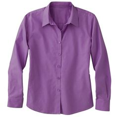 Foxcroft Pinpoint Non-Iron Shirt (4.565 RUB) ❤ liked on Polyvore featuring tops, orchid bloom, button front tops, shirt top, side slit top, purple top and side slit shirt