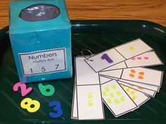 (Mystery box was made by cover a Kleenex box with construction paper and place foam numbers inside. Counting ring was made with different stickers This would be cool with Verses! Numbers Preschool, Learning Numbers, Math Numbers, Math Classroom, Kindergarten Math, Fun Math, Math Games, Classroom Activities, Teaching Math