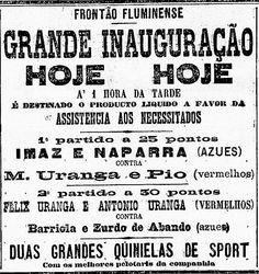 Programa  primera función de #PelotaVasca Profesional de #Brasil en el #Frontón #Fluminense #RiodoJaneiro. Año 1891
