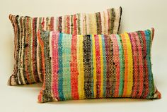 Recycled handwoven fabric cushions #recycled #handmade #fabric
