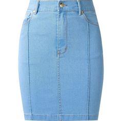 Amapô high waist fitted denim skirt ($175) ❤ liked on Polyvore featuring skirts, blue, blue skirt, denim skirt, button skirt, high waisted denim skirt and high rise skirts