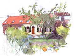 Maison à 4 otils (Painting),  20x30 cm par Catherine Rossi Maison à 4 otils, avec jardin - Carrière - aquarelle