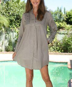 Anandas Collection Khaki Lace Button-Up Tunic - Women | zulily