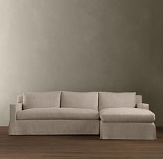"Belgian Track Arm Slipcovered Right-Arm Sofa Chaise Sectional - RH  $3995 96""w - 108""w x 73""d x 34""h  Belgian Linen in sand inspire"