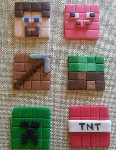 12 2d Minecraft toppers. The toppers measure 1 3/4 inches. Items include: Core Steve Core Creeper Pig Tnt Block Hammer Please read