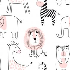 Find Seamless Childish Pattern Cute Animals Black stock images in HD and millions of other royalty-free stock photos, illustrations and vectors in the Shutterstock collection. Textile Patterns, Print Patterns, Botanical Line Drawing, Photos Hd, Animal Doodles, Simple Doodles, Kids Prints, Baby Design, Cute Wallpapers