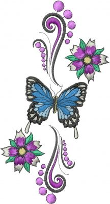Machine Embroidery Designs Embroidery Design: Butterfly Flowers 8.86 inches H x 4.76 inches W