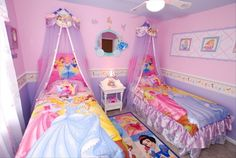 Princess room, like how they painted the ceiling and the netting over the bed.