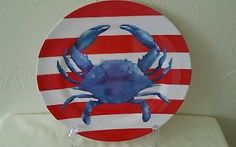 Blue Crab Melamine Dinner Plates Bibs Nautical  Set of 4 NWT