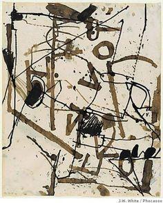 """Richard Diebenkorn: """"Untitled (Berkeley)"""" ink on paper by Richard Diebenkorn;"""