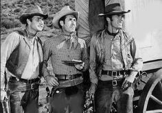 Eric Fleming as Gil Favor, Clint Eastwood as Rowdy Yates, and Sheb Wooley as Pete Nolan in Rawhide.