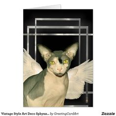 Vintage Style Art Deco Sphynx Cat Angel Card