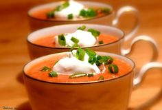 Bloody Mary Soup - no alcohol but spicy & topped with a dollop of horseradish cream. Sounds good!