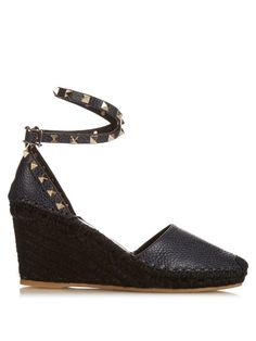 Valentino Rockstud leather wedge espadrilles | Shop now at #MATCHESFASHION