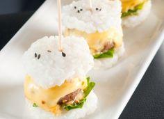 Wagyu mini burgers on rice crackers!