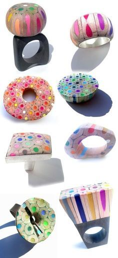 Colección-de-anillos-de-colores-y-formas-geométricas