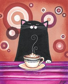 Joy of Coffee Modern Retro Giclee Painting Print by AnnyaKaiArt, $18.00