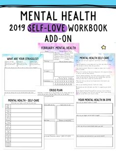 2019 Self-Love Workbook and Planner Add-Ons - bullet journal for me health journal health day health wellness To Do Planner, Happy Planner, Life Planner, Routine Planner, School Planner, Goals Planner, Weekly Planner, Agendas Diy, Coping Skills