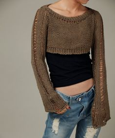 Hand knit sweater, Little shrug, cover up top in Mocha