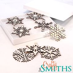 2012 Collection 2 - Wooden Laser-Cut Holiday Snowflake Ornaments - 3 Inch Diameter - Set of 8 in Gift Box. $20.00, via Etsy.