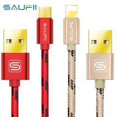 SAUFII марка USB зарядное устройство кабель нейлон плетеный провод, металлический штекер микро USB кабель для iPhone 6 6S плюс 5s 5 7 iPad мини Samsung HTC и на Алиэкспресс русском языке рублях