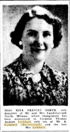 1940 Miss Rita Frances North engaged to Corporal Thomas Andrew Lockhart Thomas Andrews, Engagements, Engagement