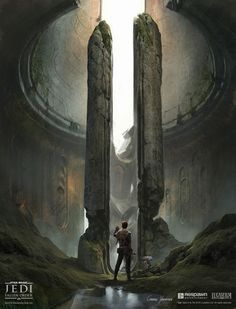 These paintings depict the ancient monolithic entrance to the Zeffo Vault on Bogano. Star Wars Concept Art, Star Wars Fan Art, Fantasy Art Landscapes, Fantasy Landscape, Star Wars Fallen Order, Star Wars Canon, Images Star Wars, Star Wars Facts, Star Wars Wallpaper