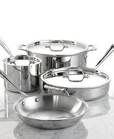 All-Clad Stainless Steel 7 Piece Cookware Set  Gift idea for me!