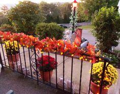 fall railing decorations - church or reception