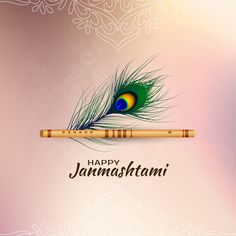 Happy janmashtami card with peacock feather and flute Premium Vector Janmashtami Quotes, Janmashtami Images, Janmashtami Wishes, Krishna Janmashtami, Happy Janmashtami Image, Janmashtami Celebration, Lord Krishna Images, Radha Krishna Images, Krishna Pictures
