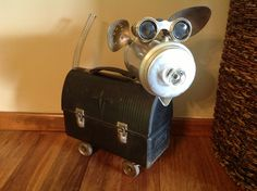 Junk Art, cow or pig from old metal lunch box; recycled, found object; salvaged; Upcycle, Recycle, Salvage, diy, thrift, flea, repurpose!  For vintage ideas and goods shop at Estate ReSale & ReDesign, Bonita Springs, FL