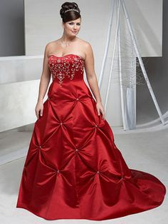 $189.99 Plus Size Red Beads Working Embroider Taffeta Chapel Train Wedding Attire In Canada Wedding Dress Online CW-086 - ca-bridals.com