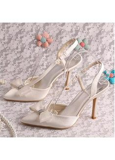 Beautiful Satin Upper Pointed Toe Stiletto Heel Wedding Shoes Wedding Shoes Heels, Bridal Shoes, Wedding Store, Custom Shoes, Stiletto Heels, Fashion Shoes, Satin, Toe, Stuff To Buy