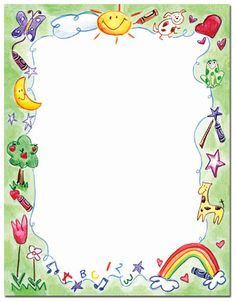 Crayon Drawing Letterhead 25 or 100 sheet packs. Laser, Inkjet and Copier Compatible. Just add your text & print. Art Drawings For Kids, Drawing For Kids, Art For Kids, Borders For Paper, Borders And Frames, Printable Border, Photo Frame Design, Crayon Drawings, School Frame