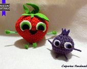 Animacibi Fragola e Mirtillo - Piovono polpette 2 - amigurumi - Foodimals Barry the Strawberry and Blueberry - Cloudy with a Chance of Meatballs 2