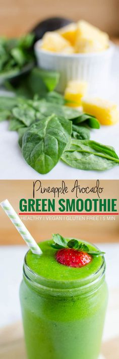 4 Ingredients Spinach Avocado Green Smoothie