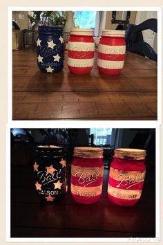 Stars and Stripes mason jars