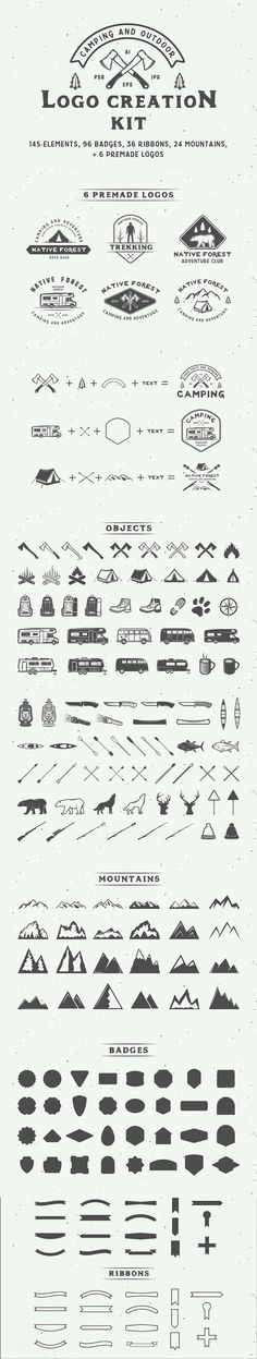 #Camping #outdoor #logo creation kit. #branding #creative #vintage #retro