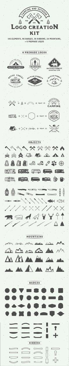 #Camping #outdoor #logo creation kit. #branding #creative #vintage #retro