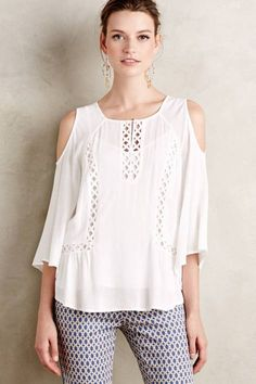 Lattice Peasant Top by Meadow Rue #anthrofave #anthropologie