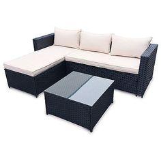 Hawaii poly rattan lounge schwarz  Details zu Hawaii POLY RATTAN Lounge Schwarz Gartenset Sofa Garnitur ...