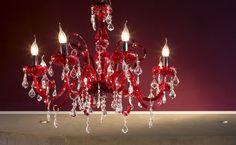 lampadario veneziano : 305-6 Lampadario in vetro soffiato veneziano rosso con gocce Swarovski ...