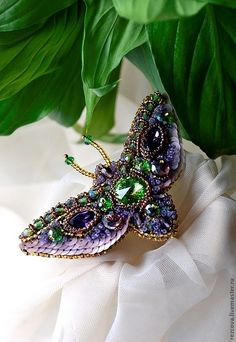 "Moth brooch ""The Amazon flower"" http://www.livemaster.ru/rezcova"