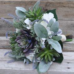 Succulent, Lambs Ear, Lavender & Hydrangea in silk flowers by Holly's Wedding Flowers.