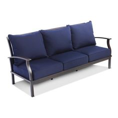 Allen Roth Gatewood Brown Aluminum Slat Seat Seat Patio Sofa Without Cushion Outdoor